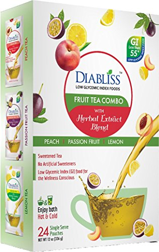 Diabliss Fruit Tea Variety Pack 24 ct - Herbal Extract Blend - Low GIycemic Sweet Instant Black Tea - Peach, Passion Fruit, Lemon Flavor - Sweetened with Regular Sugar Substitute - Stevia Free