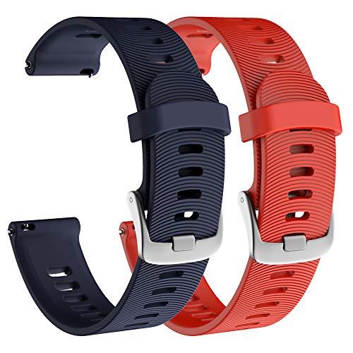 Isabake Correa de Reloj para Garmin Vivoactive 3/3 Music/Forerunner 245/245 Music/Forerunner 645/645 Music, Correa de Repuesto de Silicona Suave para Accesorios Garmin Watche(Azul Marino)