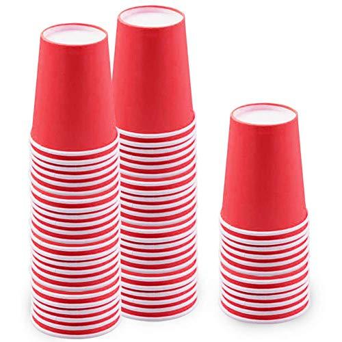 60 Piezas Vasos de Papel Rojo Tazas de Fiesta Desechables Vasos Carton...