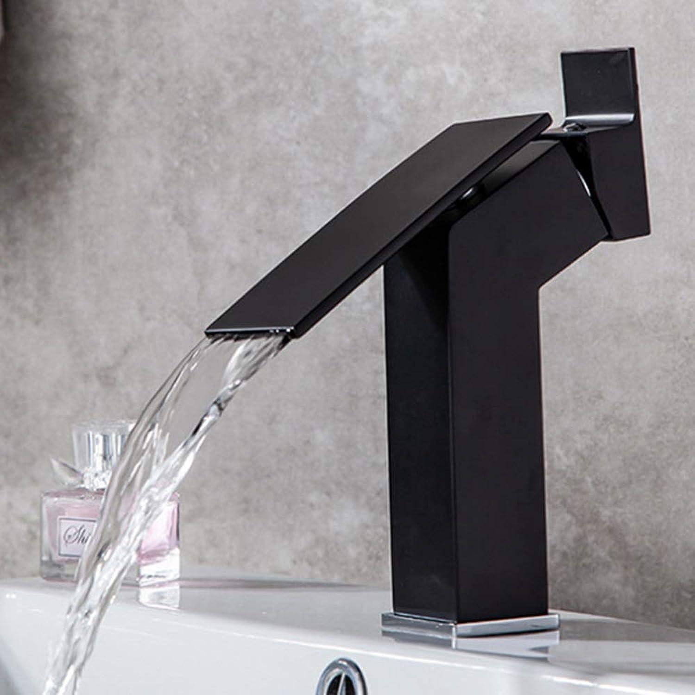 AmzGxp Black Paint Waterfall Basin Faucet Hot And Cold Washbasin Mixer