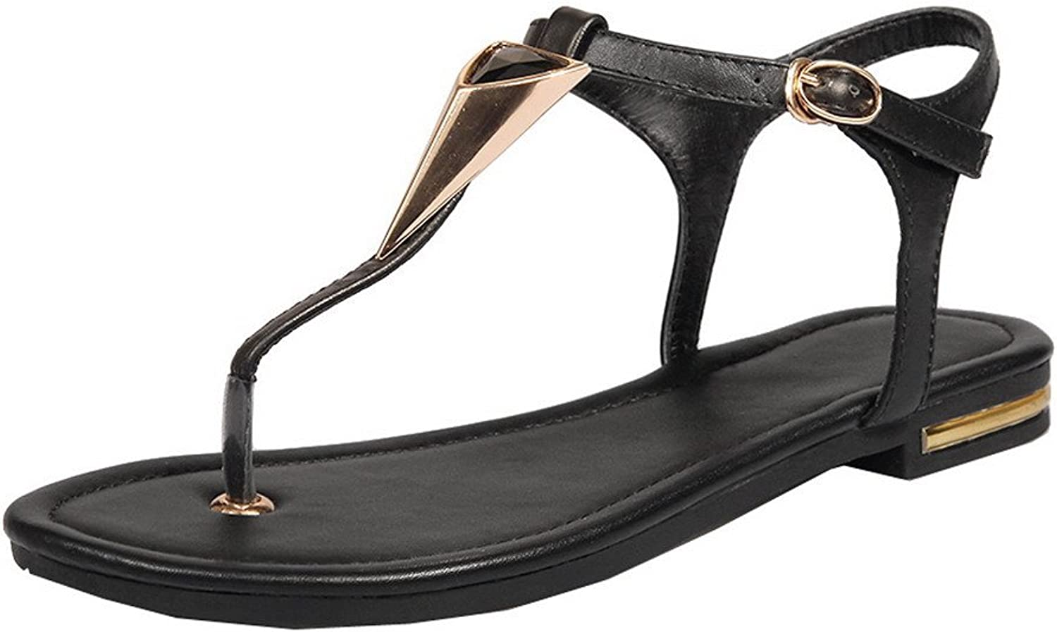 WeiPoot Women's Pu Low-Heels Open-Toe Buckle Sandals, EGHLH006655