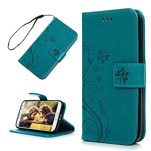 S4 Case, Galaxy S4 Case - Mavis's Diary Embossed Wallet Flip Folio Case Fashion Floral Butterfly Premium PU Leather Cover & Hand Strap, Magnetic Clasp, Card Holders for Samsung Galaxy S4 9500 - Blue …
