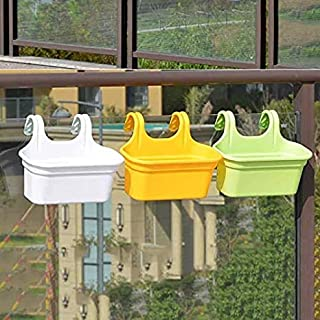 "Go Hooked Multicolor 14"" Double Hook Railing Planter, Garden Railing Pots, Hanging Pots for Plant Balcony Railing-Set of 3"