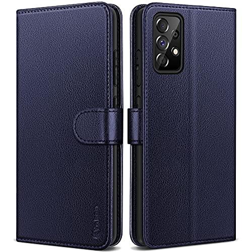 Vakoo Serie Wallet Cover per Samsung Galaxy A52 Custodia, Flip Custodia Pelle per Samsung Galaxy A52 (6.5 Pollici), con RFID Blocking - Blu (Blu)
