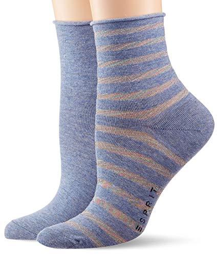 ESPRIT Damen Socken Luminous Stripe 2er Pack - Baumwollmischung, 2 Paare, Blau (Blau Melange 6667), Größe: 39-42