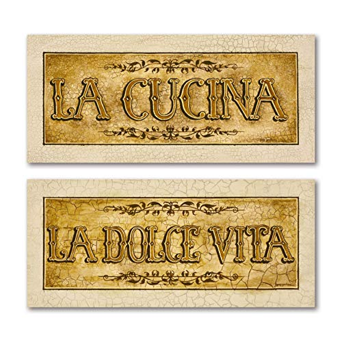 Beautiful Vintage Italian 'La Cucina' and 'La Dolce Vita' Signs; Two 20x8in Poster Pritns