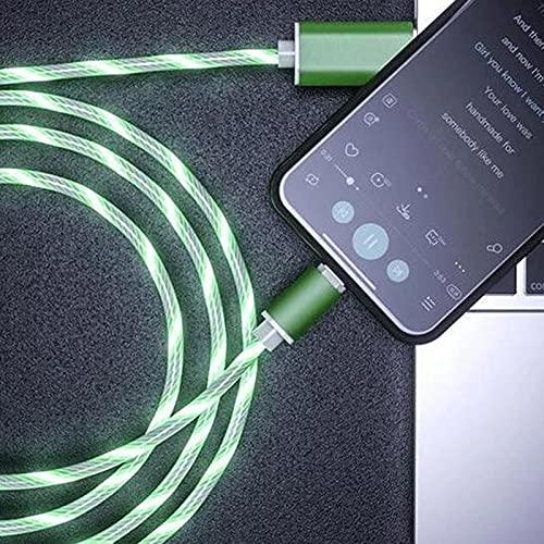 Qagazine Cable USB que brilla intensamente llevado magnético 3 en 1 Cable de carga USB Cable de datos de carga rápida Compatible Cargador Cable de carga rápida para todos los teléfonos