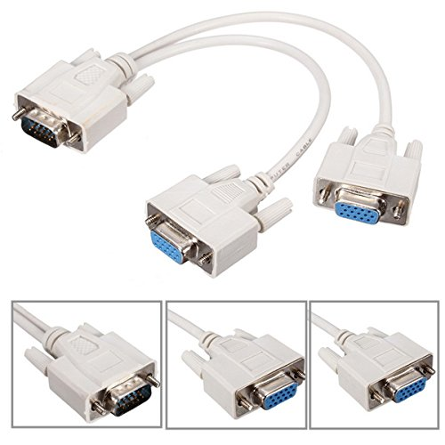 15 pin VGA maschio a 2 femmine display sdoppiatore cavo di estensione per PC desktop
