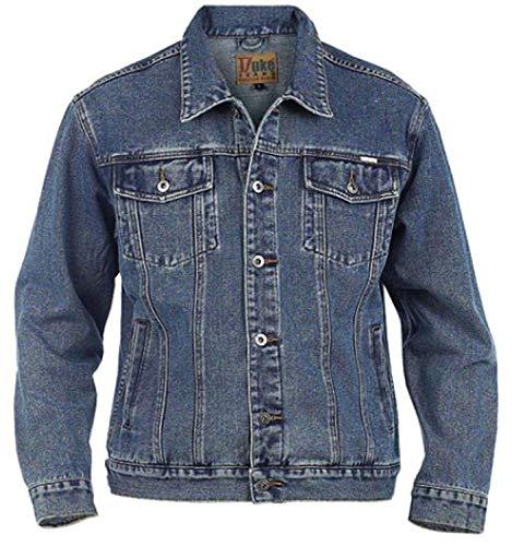 Grande King Size Da Uomo Jeans Giacca Duke Stile Camionista London Western Slavati Cappotto - Slavato, King 4XL