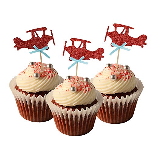 HOKPA Airplane Cupcake Toppers Cake Food Dessert Picks Baby Shower Kids Boys Birthday Party Decors (24PCS Red)