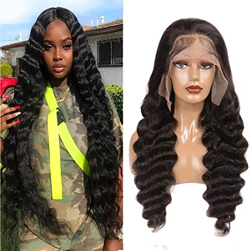 30 Inch Loose Deep Wave Lace Front Wigs Human Hair with Baby Hair Brazilian Virgin Hair Human Hair Wigs for Black Women Pre Plucked Natural Hairline 150% Density Swiss Lace (30 Inch, 13x4)