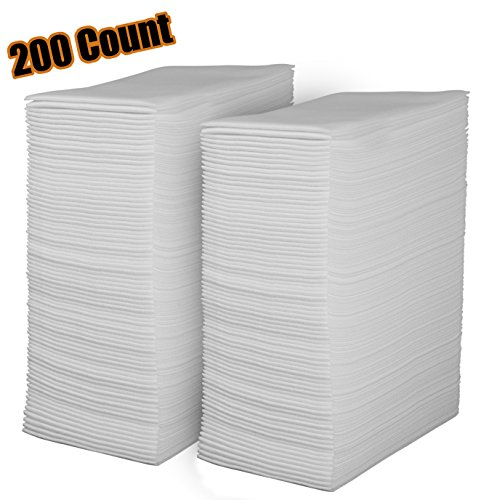 Linen Feel Disposable Guest Towels - Cloth Like White Paper Hand Napkins 200 Pack - Highly Absorbent  Soft Fancy Guest Hand Towels for Bathroom  Parties  Dinner  Cocktails  Kitchen  Weddings & Events