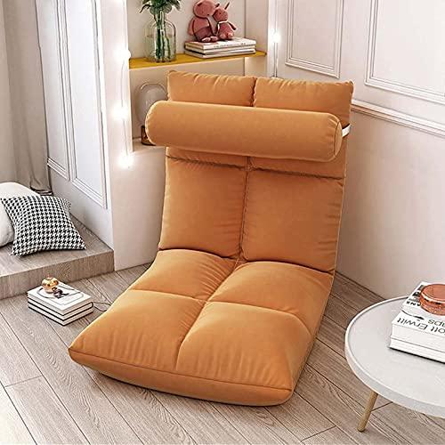 Elegante Sofa Plegable de Suelo Multi-ángulo,Silla Plegable de Suelo Acolchada Regulable con Respaldo para el Hogar y la Oficina,Sillon Relax para Meditación o Gaming(Naranja)