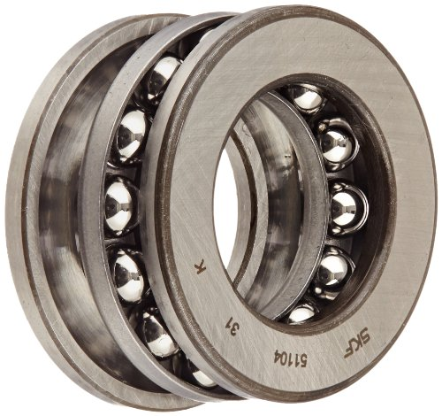 SKF 51104 Single Direction Thrust Bearing, 3 Piece, Grooved Race, 90° Contact Angle, ABEC 1 Precision, Open, Steel Cage, 20mm Bore, 35mm OD, 10mm Width, 4680lbf Static Load Capacity, 2860lbf Dynamic Load Capacity