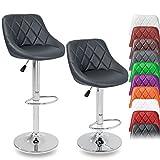 TRESKO 2er Set Barhocker Barstuhl 10 Farben wählbar, 360° frei drehbar, Sitzhöhenverstellung 60-80cm (grau)
