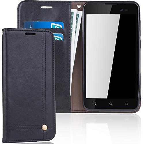 König Design Handyhülle Kompatibel mit Wiko Sunny 2 Plus Handytasche Schutzhülle Tasche Flip Hülle mit Kreditkartenfächern - Schwarz