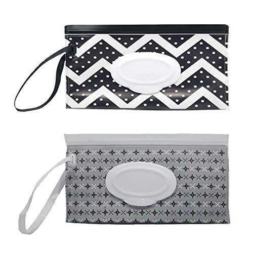 Portable Refillable Wet Wipes Dispenser, Baby Wipes case Pouch for Diaper Bag, Reusable Travel Wet Wipe Holder (2 Pack)(F)