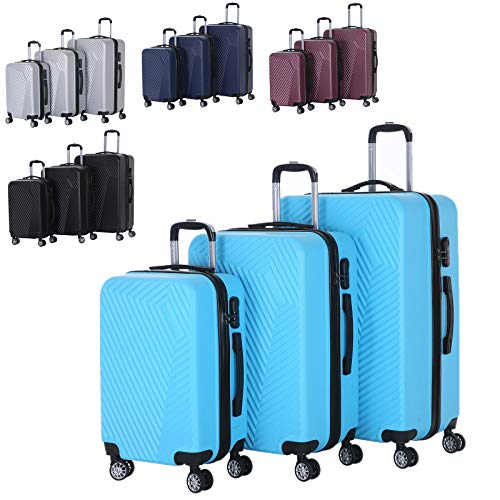 XEOHome ABS Luggage Sets Combination Lock Luggage Durable Hard Shell Telescopic Handle Suitcase - 3 Piece Set (20' 24' 28') (Sky Blue BA-0113)