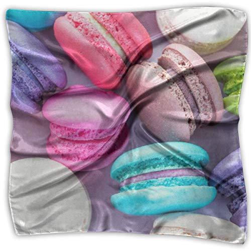 Postre de colores Mujeres 'S Impreso Cuadrado Bufanda Tocado Cuello Bufandas de satén Abrigo Pañuelo...