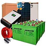 Kit Solar 24V 1.000W / 5.000W Día + 4 Paneles + 4 Batería UP-GC16 600Ah + Inversor Multifunción 3kva con Regulador MPPT 60A