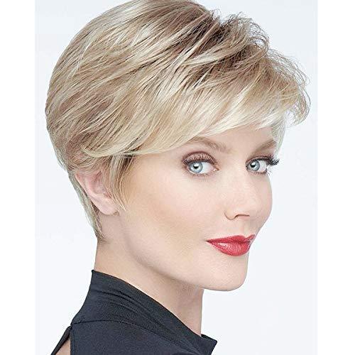 BECUS Pixie Cut Perücke Short Fluffy Synthetic Blonde Mixed Brown Layered Hair mit Pony für Frauen Tägliche Abnutzung