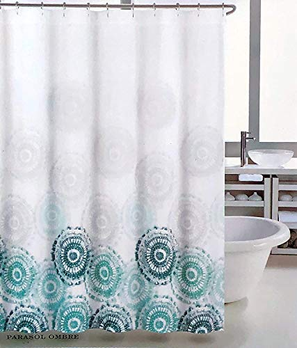 "Tahari Fabric Shower Curtain Boho Tie Dye Hippie Medallion Pattern in Shades of Green on White - Parasol Ombre 72"" x 72"""