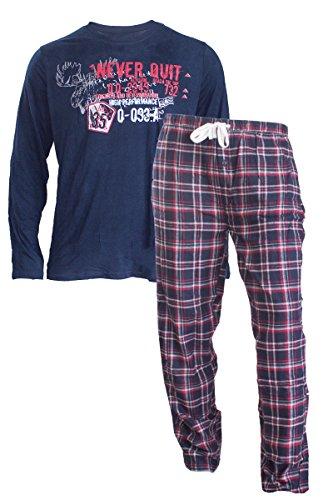 Herren Flanell Pyjama Schlafanzug Nachtwäsche Oberteil + Hose (L 52-54, Blau)