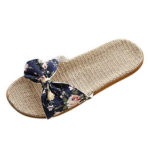 Mujeres Chanclas Planas de Lino Bohemia Bowknot Verano Romana Playa Zapatos Sandalias