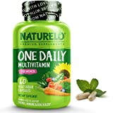 NATURELO One Daily Multivitamin for Women - Natural Energy Support - Whole Food Supplement to Nourish Hair, Skin, Nails - Non-GMO - No Soy - Gluten Free - 60 Capsules | 2 Month Supply