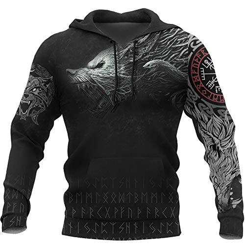 Nordische Mythologie Kostüm, Wikinger 3D-Druck Wolf Fenrir Totem Tattoo Hoodie T-Shirt Reißverschluss Unisex Amulett Rune Streetwear,Hoodies,XL