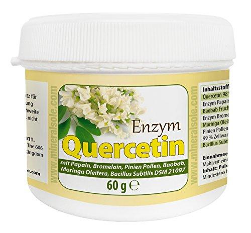 Quercetin Enzym 60g für 60 Tage Anwendung Pulver Baobab Fruchtpulver Papain Bromelain Moringa Oleifera Bacillus Subtilis