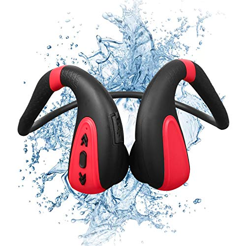 vapeonly Swimming MP3 Player Bluetooth 5.0 Bone Conduction Bluetooth Headset Headphone 8G MP3 Player Waterproof Wireless Sport Headset (Black Red)