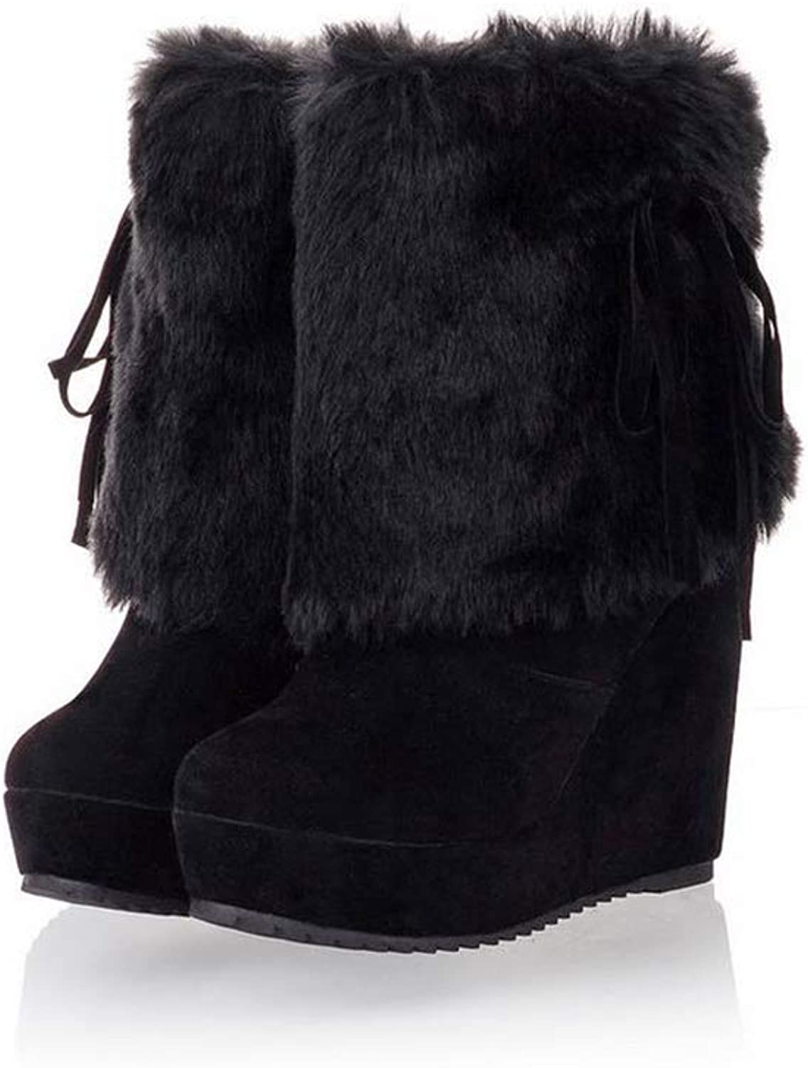 Boots Winter Wedge Round Toe shoes Keep Warm Slip-On Plush Snow Boots