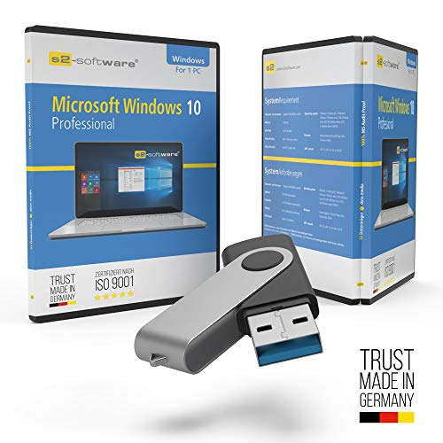 Microsoft® Windows 10 Professional USB Stick mit Verpackung, Unterlagen von Microsoft Lizenz Experten, Zertifikat & Lizenzschlüssel