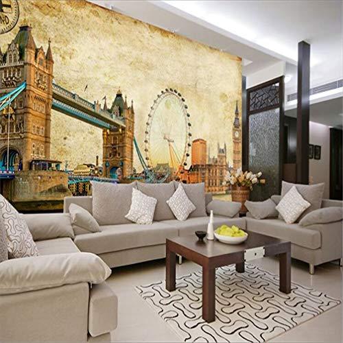 3D fotobehang 515D vlies groot behang Mediterrane gepersonaliseerde moderne wanddecoratie Londen antiek gebouw Big Ben brug sofa achtergrond muur TV woonkamer Fresco 430*300cm