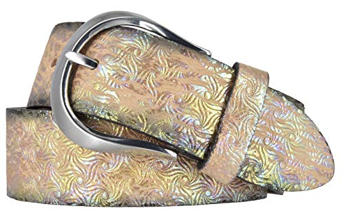 Bernd Götz Damen Leder Gürtel 35 mm Metallicleder gewalkt Ledergürtel Damengürtel (105 cm, beige)