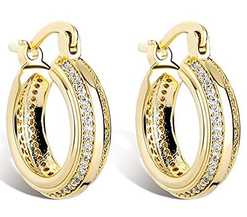 CHXISHOP Hip Hop - Pendientes de aro de doble fila, chapados en oro de 18 quilates, plata de ley 925