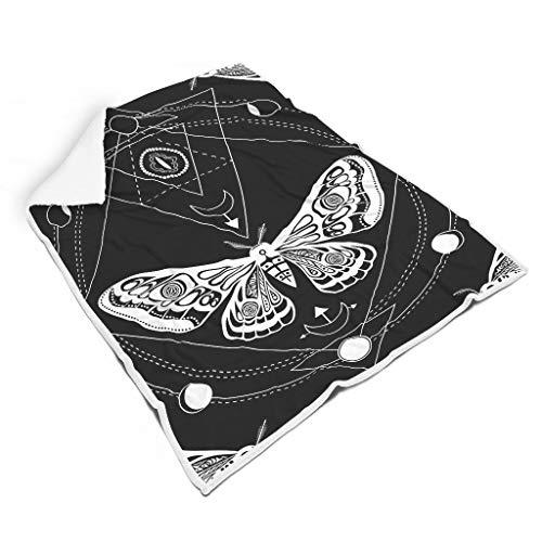 STBlanketshop Gotische Nachtfalter Schmetterlings Puppe Heilige Geometrie Tattoo Druck Gemütlich Shaggy Decke Werfen Bunt Picknick Werfen Reisen Erwachsene&Kinder White 150x200cm