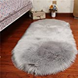 Faux Sheepskin Carpet Fluffy Shaggy Rug Decorative Sofa Cushion 5-6cm Long Pile Carpet
