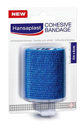 Hansaplast Kohäsive Bandage, 1 Rolle, 4 m x 6 cm, blau, 5er Pack (5 x 1 Stück)