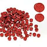 LSYGXYZ 102 Pieces Octagon Wax Seal Beads, Premium Metallic Red Sealing Wax Beads for Letters and Certificates, Valentine's Day Cards, Wedding Invitations, Gift Wrapping, Christmas Card