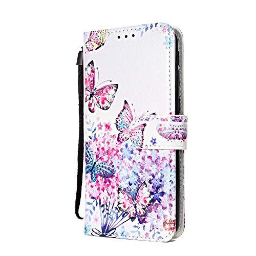 Funda Libro para Samsung Galaxy A70 Carcasa de Cuero PU Premium Flip Wallet Case Cover con Tapa Teléfono Piel Tarjetero - Flores, Mariposa