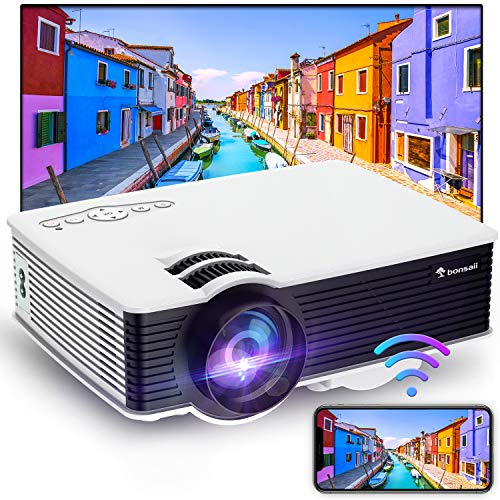 Movie Projector, WiFi Outdoor Projector Supported 1080p, 5500 Lux Brightness and 50000 Hrs Lamp Life Mini Portable Projector for Home Theater Compatible with TV Stick, HDMI, USB, Laptop