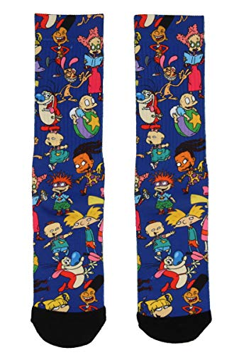 Nickelodeon Adult 90s Cartoon Rugrats Ren and Stimpy Hey Arnold Sublimation Crew Socks For Men Women