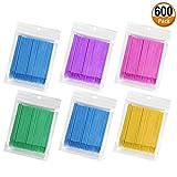600 Pcs Micro Aplicadores Pinceles Aplicadores Desechables Micro Rímel Pinceles Extensió...