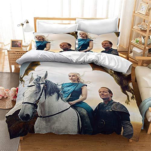 Bfrdollf Juego de cama y fundas de almohada con estampado 3D de Juego de Tronos para adolescentes (200 x 200 cm, 5)