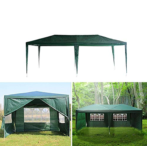 AutoBaBa Garden Gazebos, Green PE Gazebo Marquee Awning Tent Canopy for Outdoor Wedding Garden Party, 3x3m, 3x4m, 3x6m, Fully Waterproof, (3x4m, With Zip Up Side Panel)