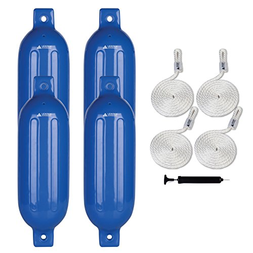 Leader Accessories Ribbed Twin Eyes Blue 5.5''x20'' Boat Fender Pack of 4 Includes 3/8'' Fender Lines Pack of 4 and Pump to Inflate