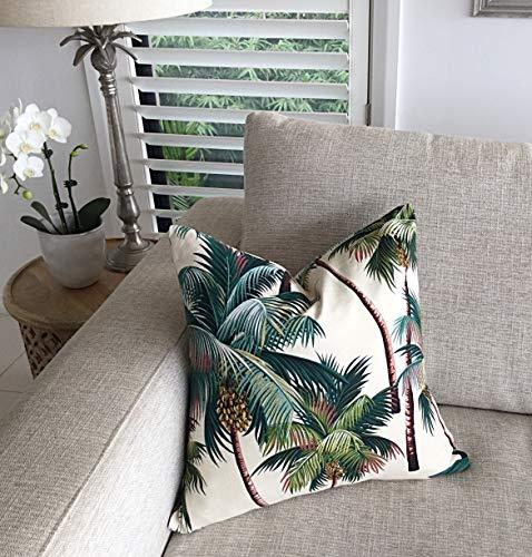 Hose233 - Cojín de palmera con palmeras tropicales, color crema