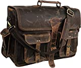 Leather Laptop Messenger Bag Vintage Briefcase Satchel for Men and Women (VINTAGE BROWN)